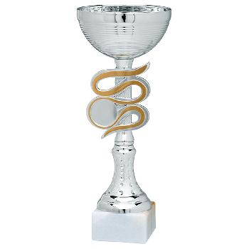 Zilveren trofee met gouden sierrand