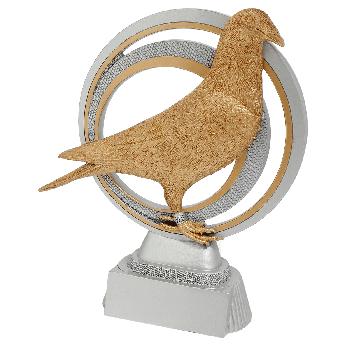 Zilver-goud duivensport beeld