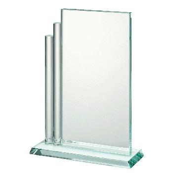 Rechthoekige glasstandaard met ronde zijkant