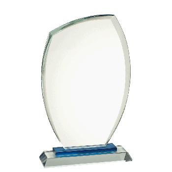 Glasstandaard op blauwe voet