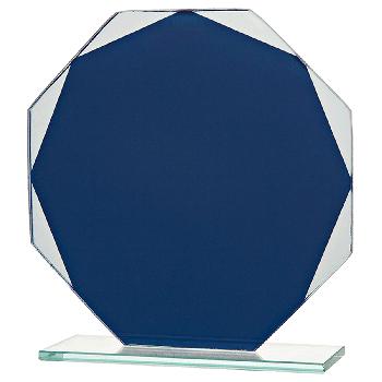 8-hoekige blauwe glasstandaard