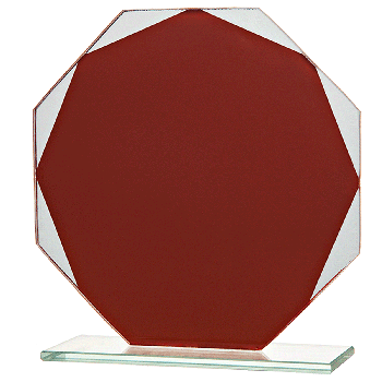 8-hoekige rode glasstandaard