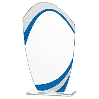 Glazen standaard met blauw detail