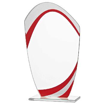 Glazen standaard met rood detail