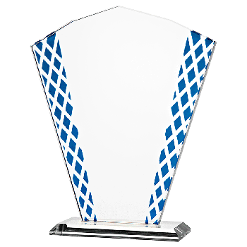 Glazen standaard met blauwe zijkant