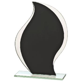 Glazen standaard met zwart detail