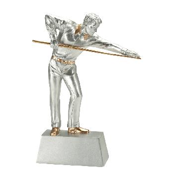Zilveren biljart beeld