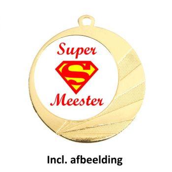 Medaille super meester 70mm goud