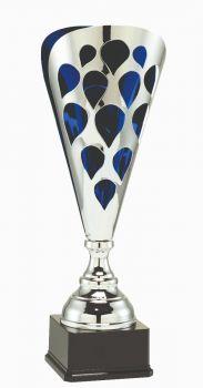 Grote zilver-blauwe trofee met open details